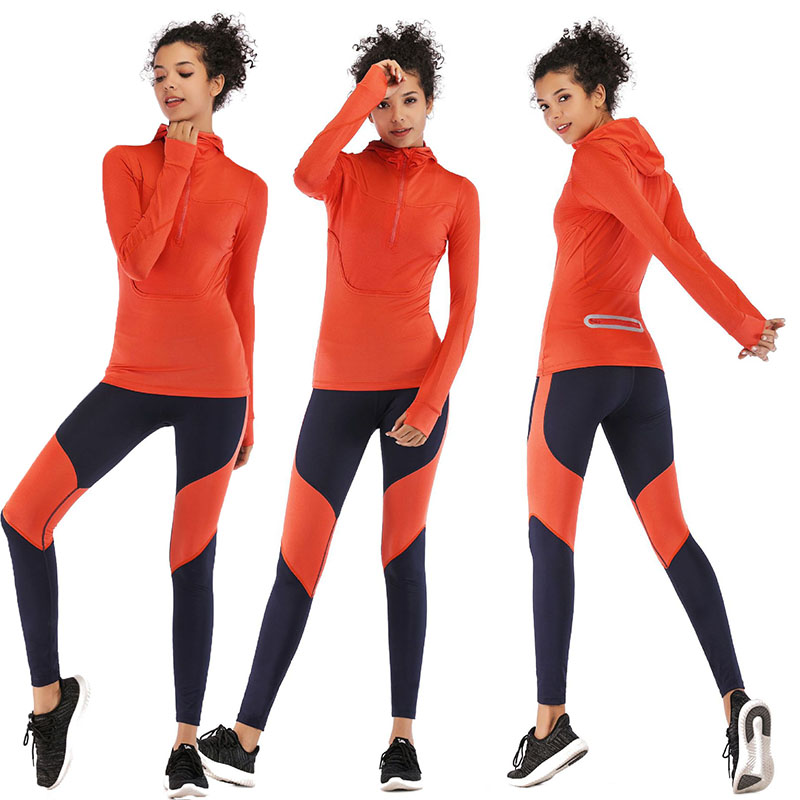 womens neon orange long sleeve fitness jogger hoodies jacket with reflective zipper