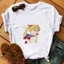 Женская футболка Сейлор Мун мягкая девушка Эстетическая аниме одежда лето для женщин Хиппи Белый Топ уличная одежда футболка с рисунком(China)
