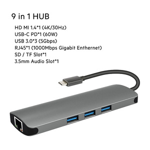 9 in 1 USB Type-C HUB to PD2.0 Charger 4K HD MI Gigabit Ethernet RJ45 TF/SD Reader USB 3.0 *3  AUX Audio