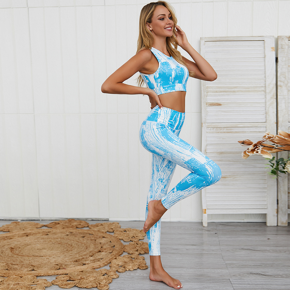 Wholesale Digital Print Tights Hip Workout Leggings Set High Waisted Gym Hollow Out Back Yoga Set