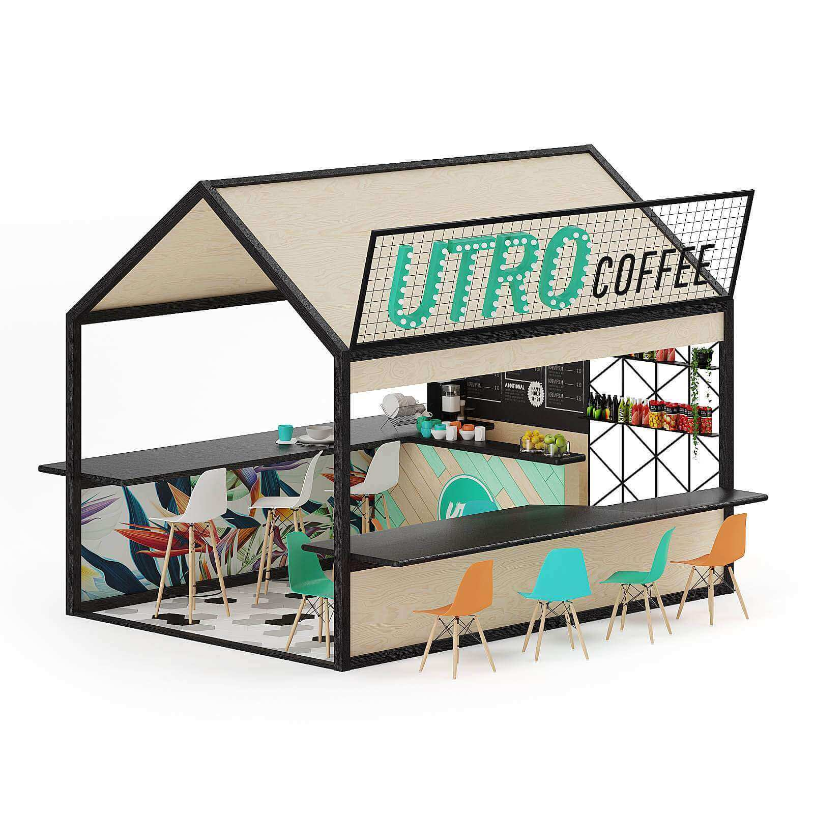 Outdoor simple coffee stand | small house for sell food | outside snack display booth