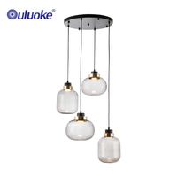 Modern nordic style hotel restaurant decoration glass led chandelier lamp