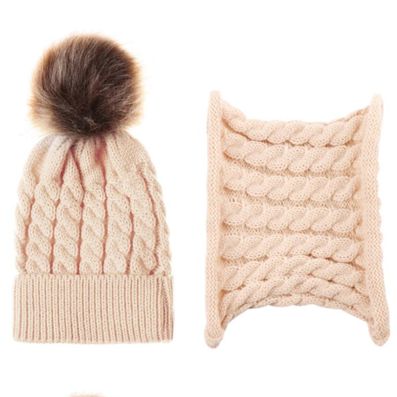 Autumn Winter Warm Baby Hat With Scarf Boys Girls Hats Scarf Set