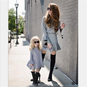 Autumn Winter Parent-child Family Matching Outfits LongSleeve Solid Casual Dress Women Kids Girls Mother Daughter Family Clothes