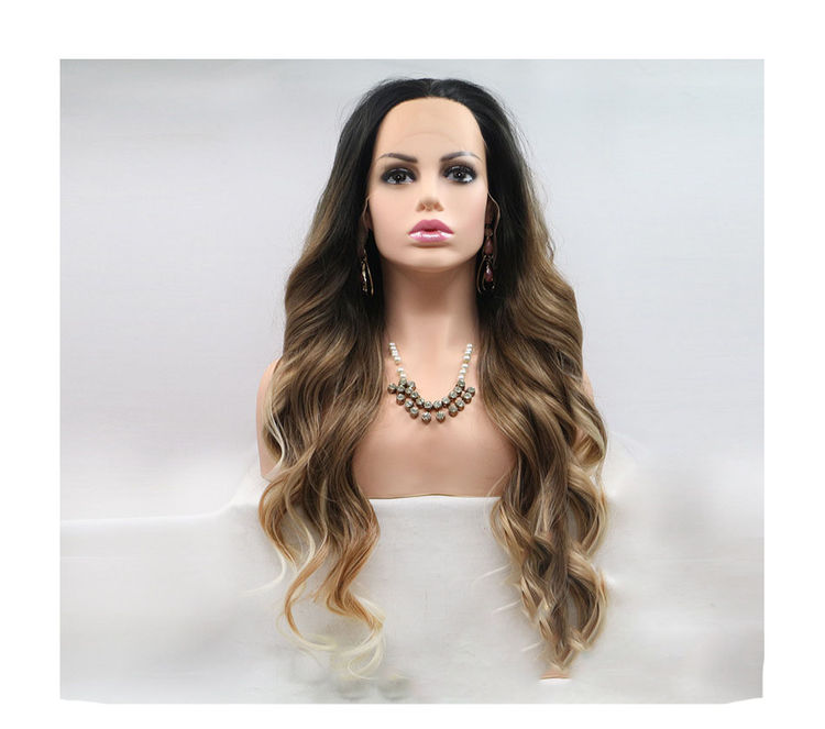 Blonde Synthetic Body Wave Long Full Lace Wigs With Dark Roots For White Women