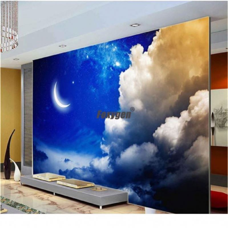 blue sky pvc stretch ceiling film with light behind