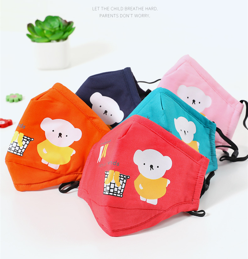 Cartoon Printed Cotton Face Cover Mouth-muffle for Children Kids PM2.5 Mouth Shade With 2 Filters