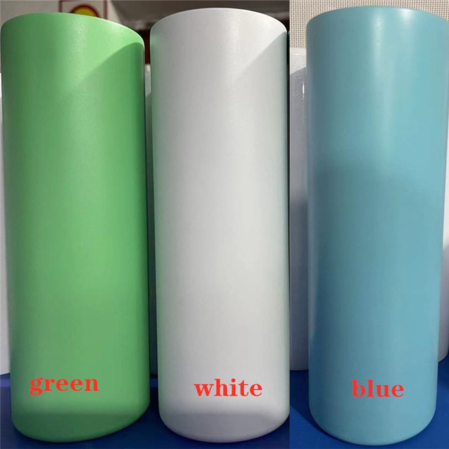 Single 20oz GREEN Glow In The Dark MATTE Finish Straight Sublimation Skinny
