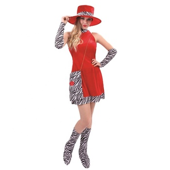 Dress Up Carnival Party Costume Fashion Flapper Dancer Sexy Red Dress For Women