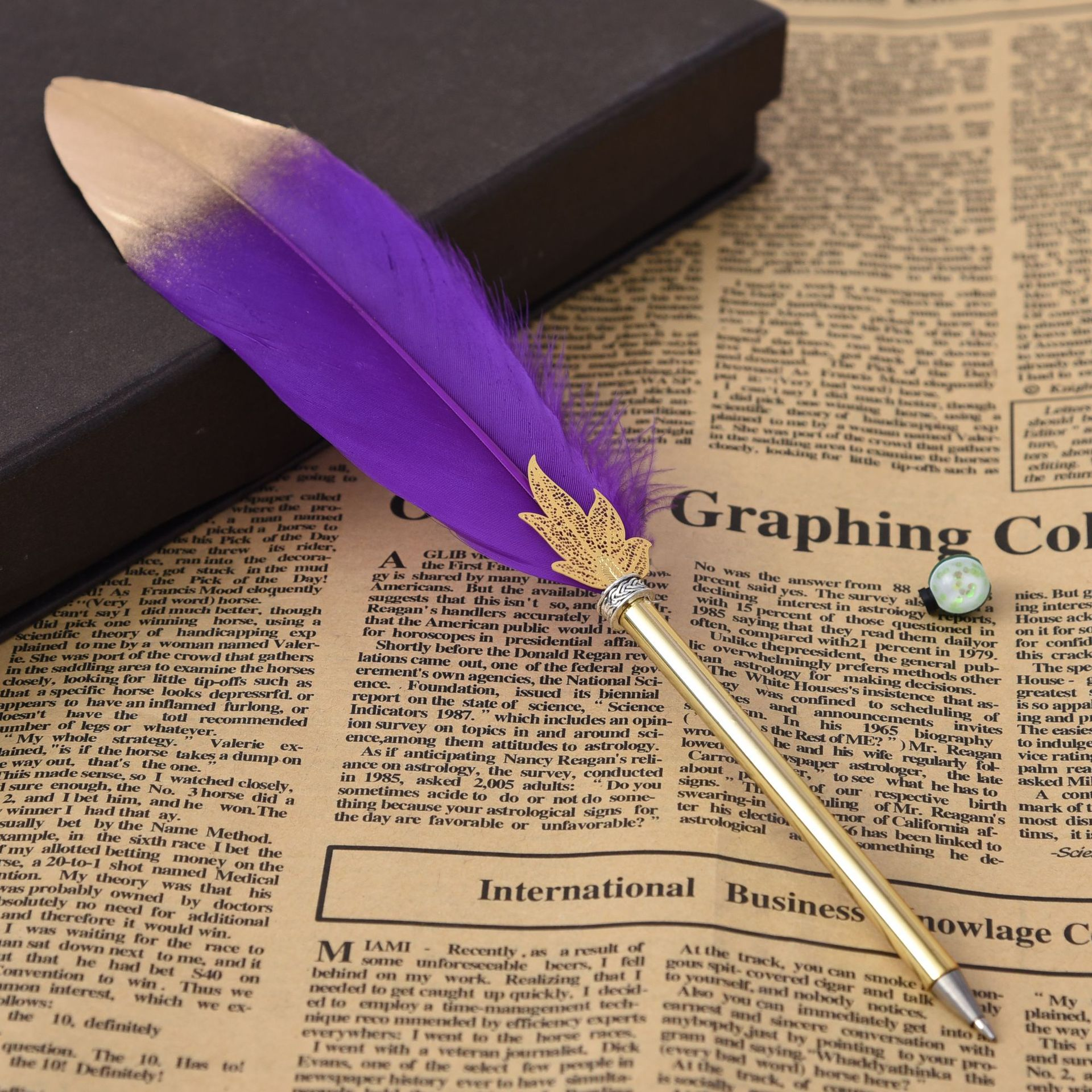 Hot selling feather shape pen for school learning office work Cheap custom Promotional pen writing gift