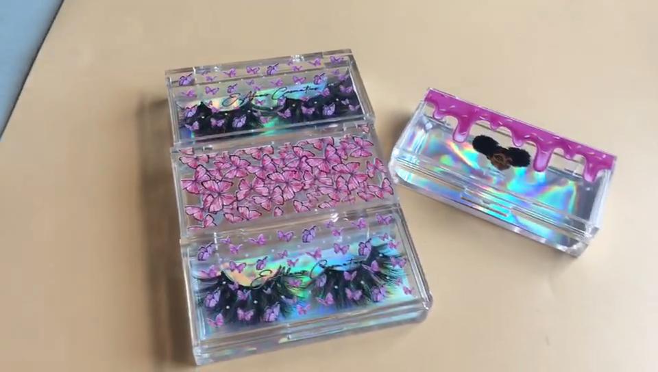 Wholesale private label 3d mink lashes custom eyelash packaging box handmade 100% real mink eyelashes