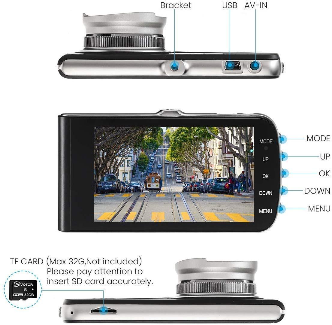 Chaude dans Amazon JEEMAK 4 pouces IPS Double Lentille Voiture Dash Cam FHD 1080P Caméra de tableau de Bord DVR enregistreur
