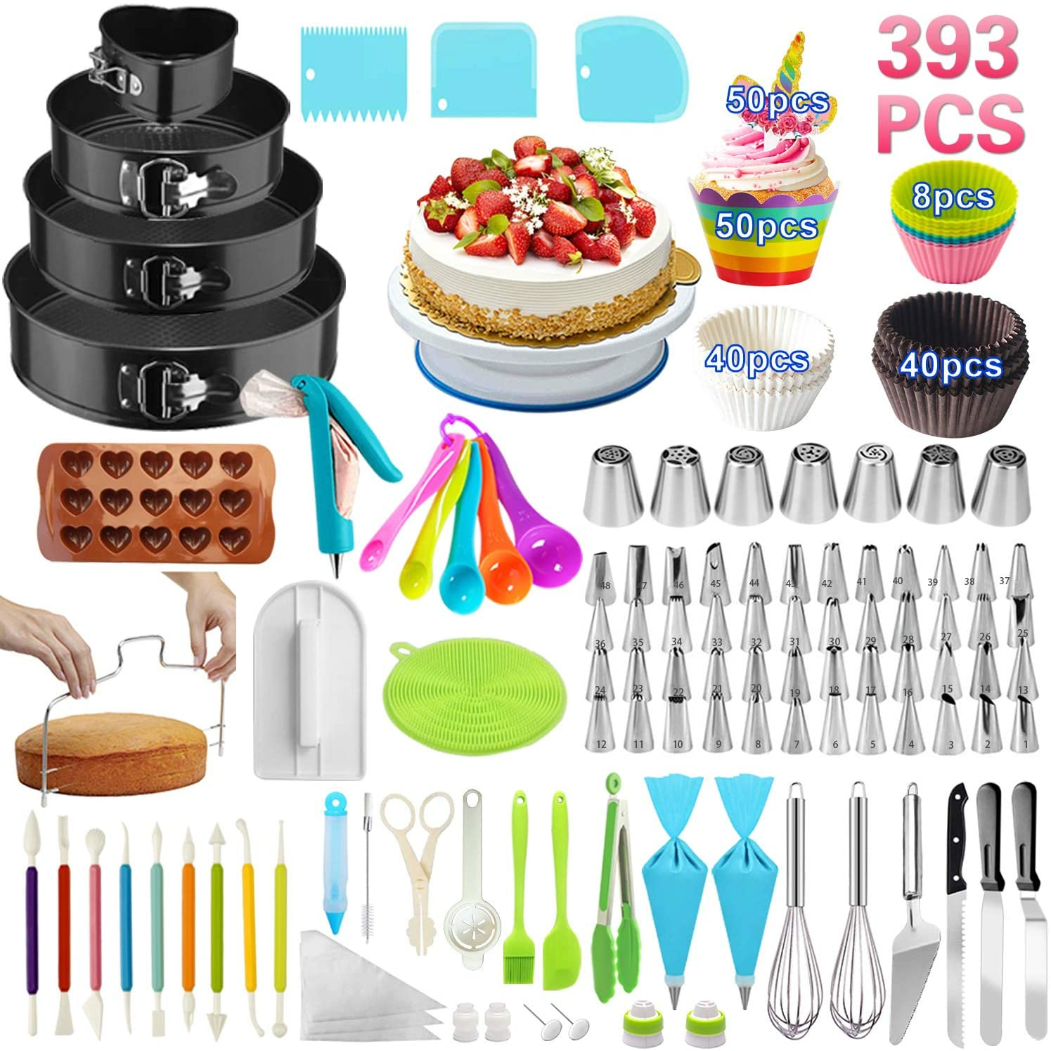 Cake Decorating set include Cupcake Rotating Turntable Stand Leveler Frosting Piping Bags Tips Set Baking Supplies Icing Spatula