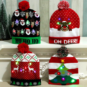 Colorful Light Christmas Hat Costume Adult Children Knitted Warm Caps Beanie Winter Xmas Graphic Hats Xmas Gifts Cap Decoration