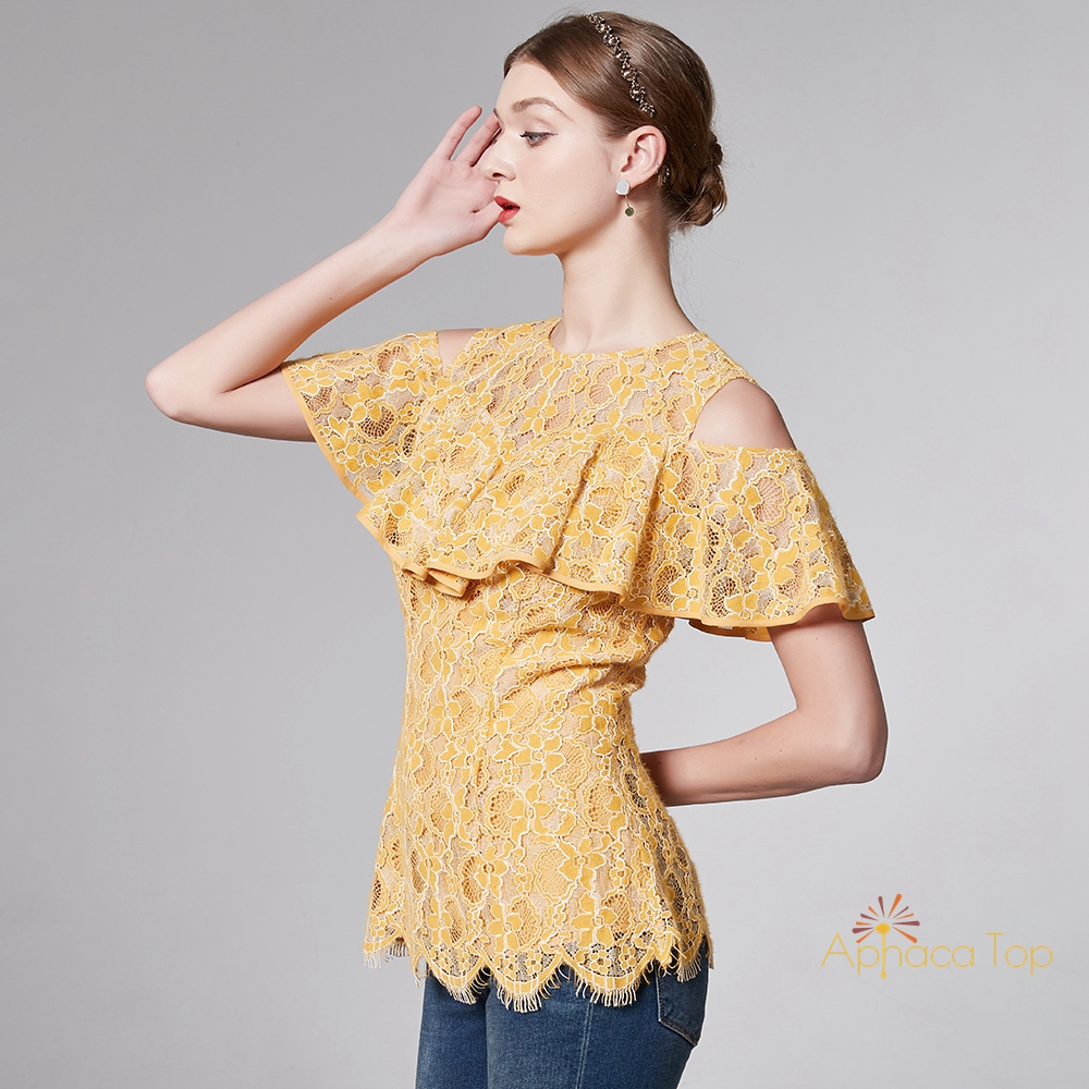 APHACATOP 2020 New Arrival Yellow Off-Shoulder Pleated Women <strong>Blouse</strong> <strong>Lace</strong>