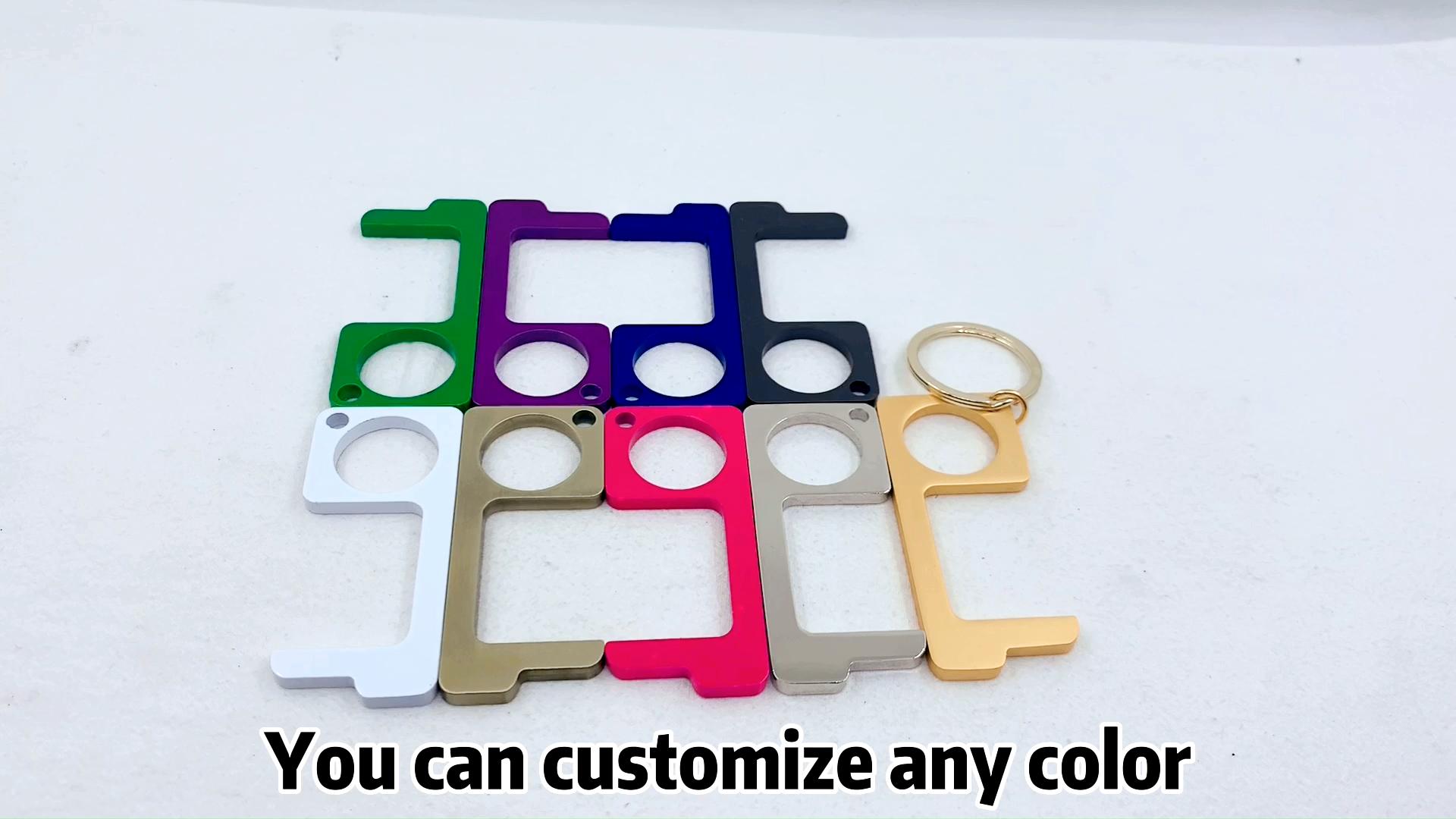 china wholesale custom metal non-contact handle no touch door opener keychain