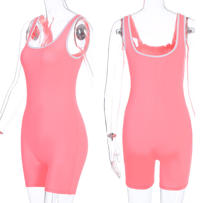 Women Sexy Backless Sleeveless Bodycon Playsuit Pink Bodysuit Sport Shorts Jumpsuit