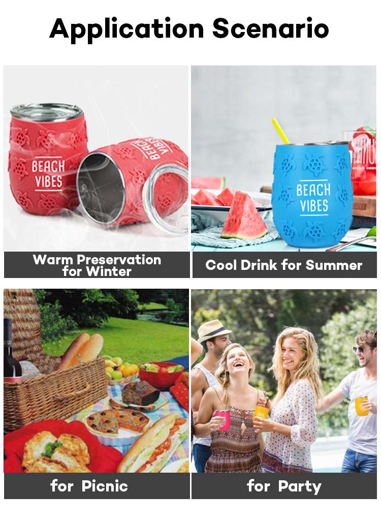 12oz Outdoor Non-slip 304 Stainless Steel Thermal Wine Tumbler With Lid for Beverages