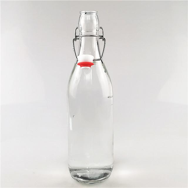 500ml 1000ml glass beverage bottle with flip top clip lid