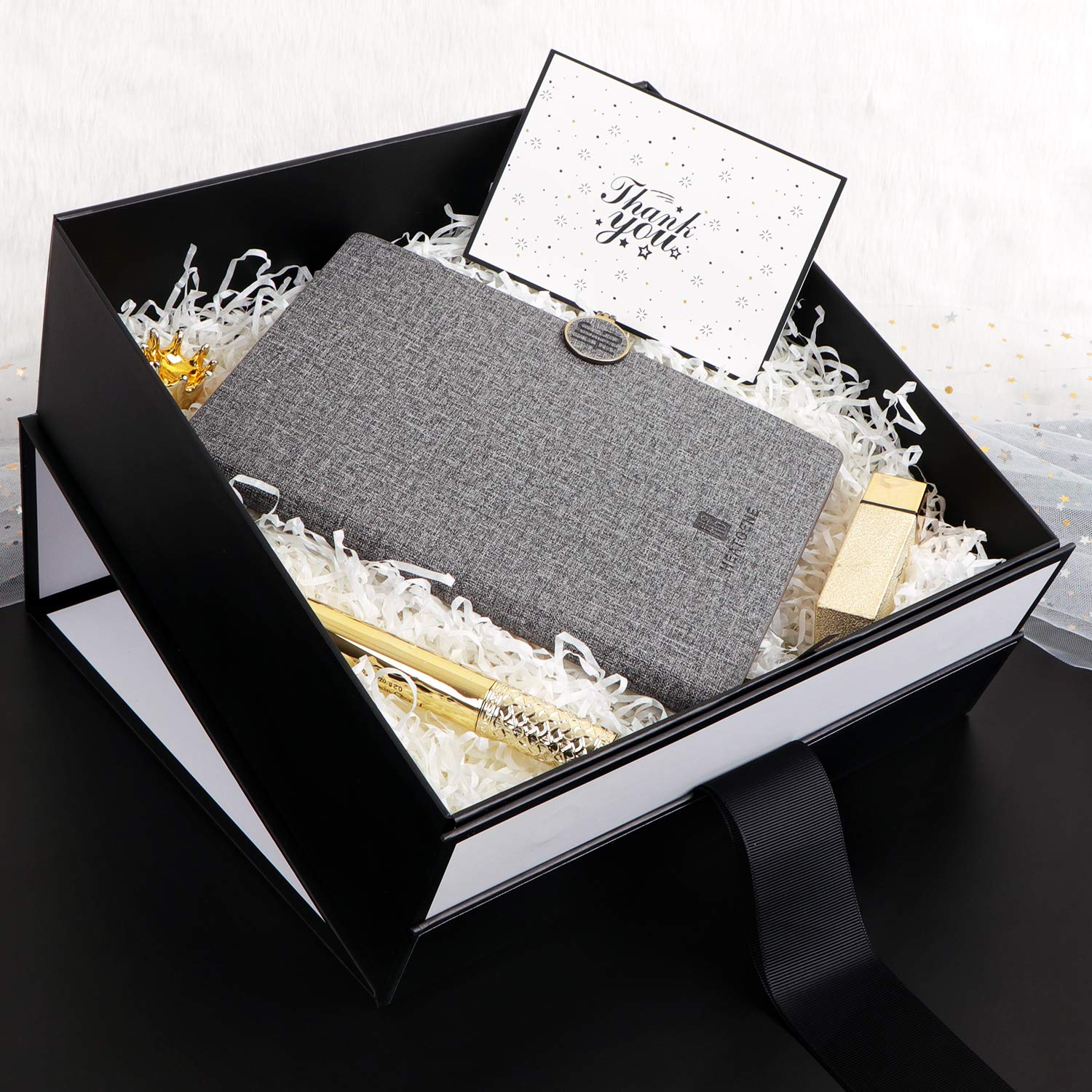 Luxury Black Clothing Packaging Box Hair Extensions Product Magnetic Gift Box with Ribbon