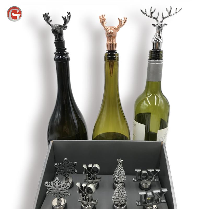 Bar liefert neuen dekorativen Hirschkopf-Vakuum-Weinflaschen verschluss boden