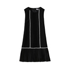 Factory Women's Clothing high quality appliques lace sleeveless Casual Dresses pleated black and red Dress