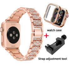 Браслет с бриллиантами + чехол для Apple Watch 40 мм 44 мм 38 мм 42 мм iWatch series 5 4 3 2 1 браслет apple watch ремешок из нержавеющей стали для женщин(Китай)