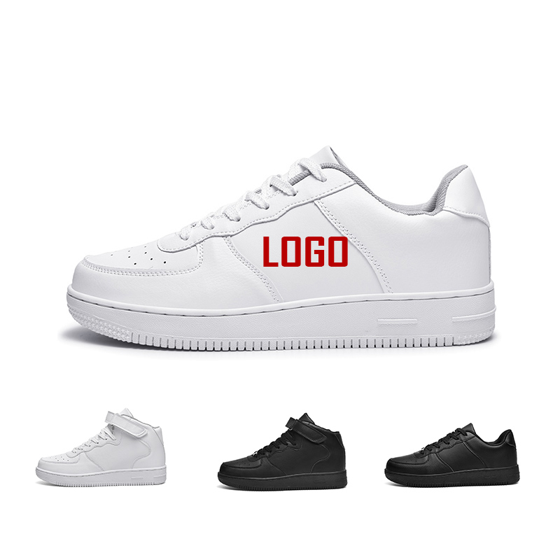 sneaker manufacturer Latest Sport Breathable Leather Made White Flat Sneakers Black Casual Shoes Men and Women, Black,white