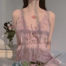 Женская ночная рубашка, сексуальное женское белье, кружевные ночные рубашки на бретельках, ночная рубашка, Прозрачное платье для сна(Китай)