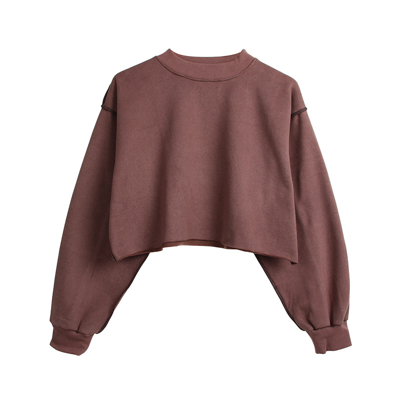 Toplook 9 Farben Fleece Dicken Crop Top Sweatshirt Weibliche Casual Pullover Frauen Hoodies B417