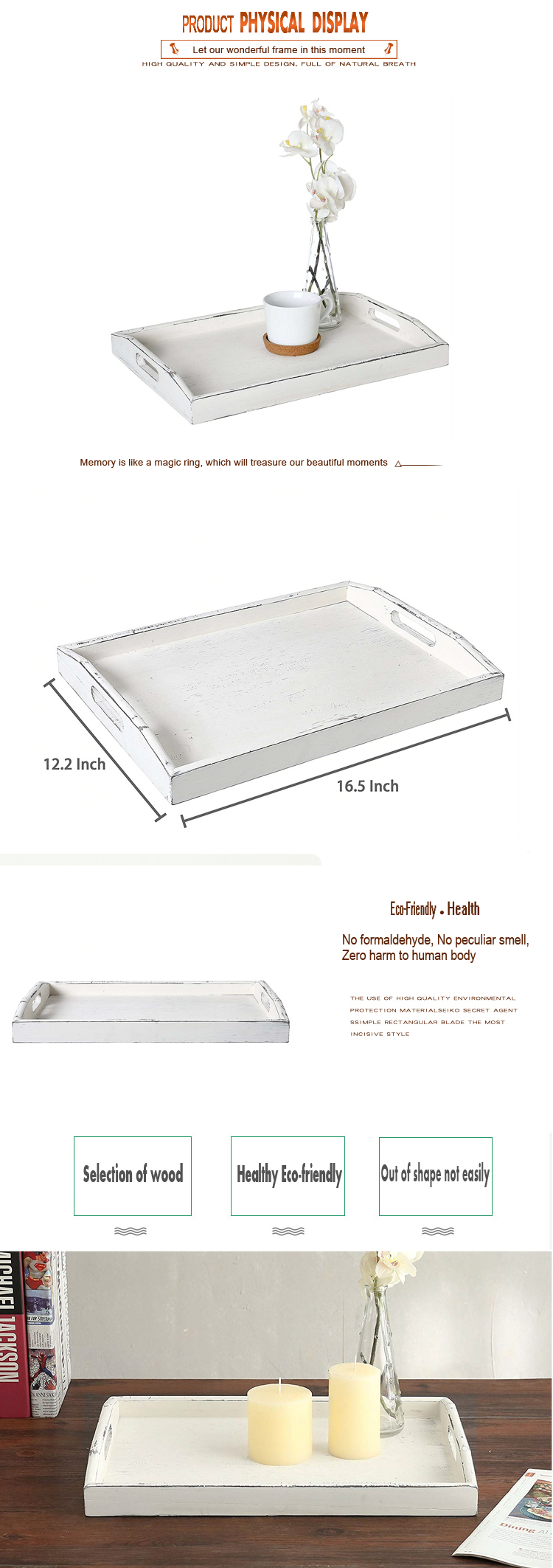 Wholesale Cheap Customized Rectangle Hotel antiskid wedding gifts antique white wood  tray