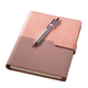 Eco Friendly PU Leather Cover Paper custom logo a6 leather notebook with pen
