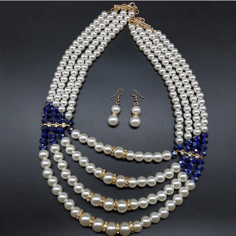 Simple necklace and earring sets creative pearl gemstone stitching color necklace charm pearl jewelry sets