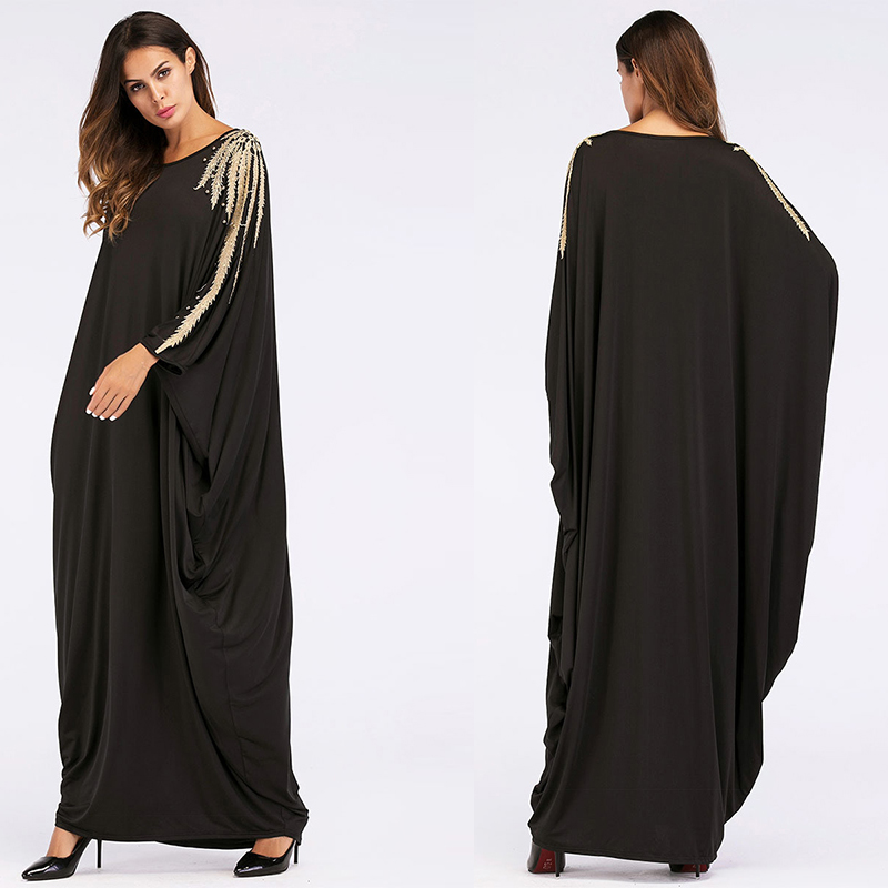 Arabic Women Dress Stylish Abaya Plain Design for Muslim Women Long Sleeve Casual Dress
