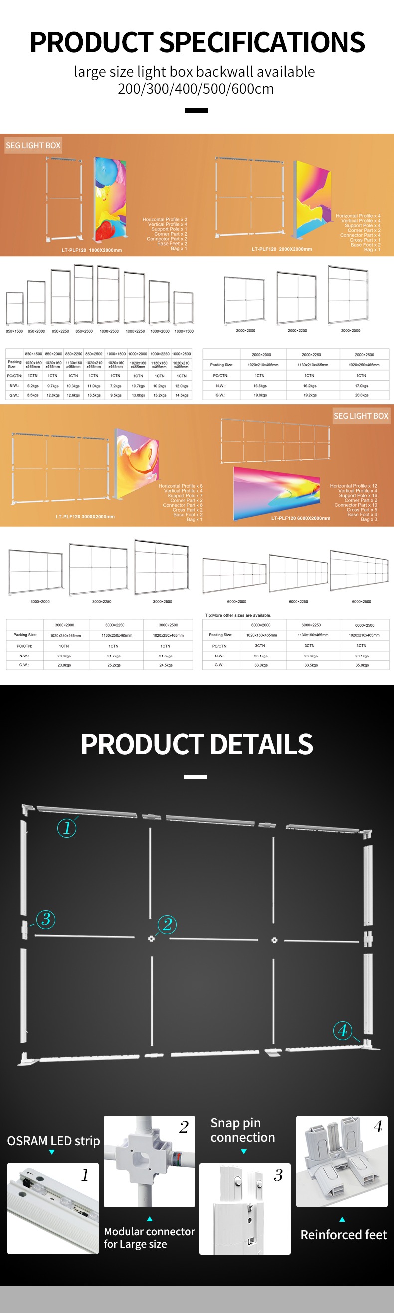 Double-sided PVC Framed SEG Backlit Fabric Silicone LED Lightbox for advertising