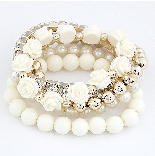 Summer style girls multi color pearl bead flower bracelet multilayer stretch bracelet set