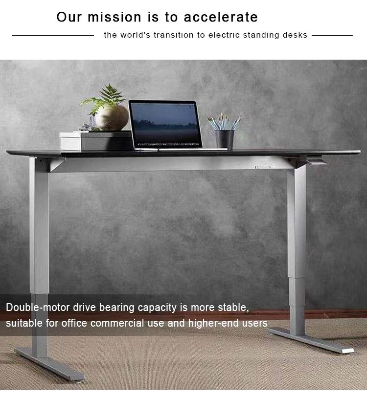 Office Three Segment Two Motors Drivers Ergonomic Standing Height Adjustable Desk