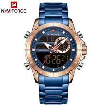 NAVIFORCE модные часы мужские брендовые роскошные Цифровые часы Мужские Спортивные кварцевые наручные часы полностью стальные мужские часы ...(Китай)