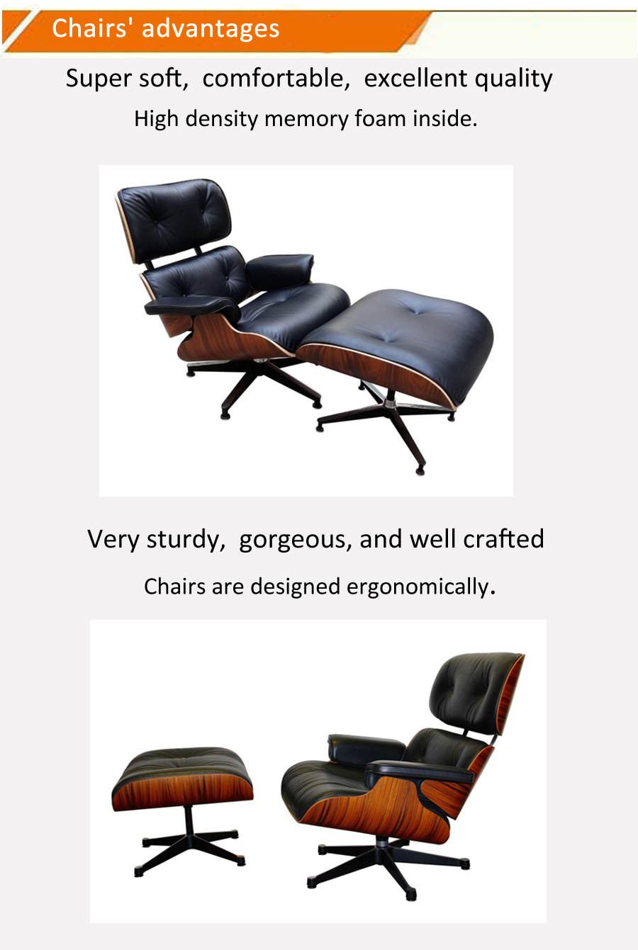 Wholesale popular design wood shell wood lounge chair with footrest