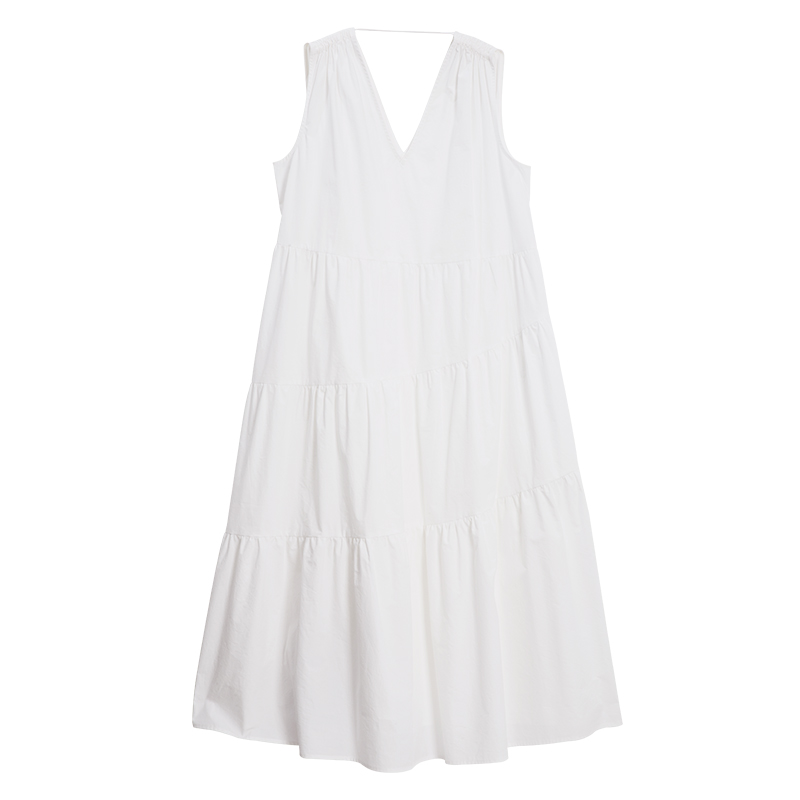 Spaghetti strapless geplooide zoom lange casual dress