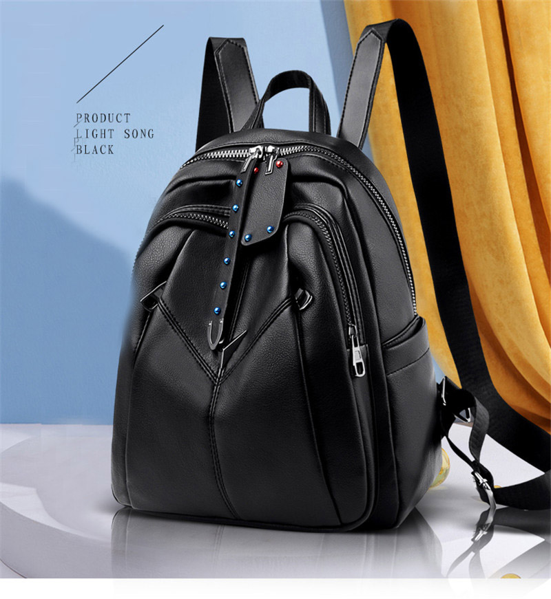 product-GF bags-mochilas 2020 New Fashion Women Leather Backpack For Girls Sac a Dos Preppy School F