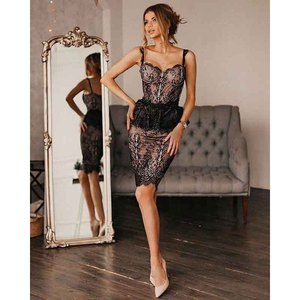 C1895 black lace sexy strap mini bandage dress sleeveless eyelash lace bodycon wholesale