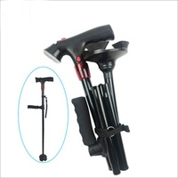 Two Handle Aluminum Cane Walking Stick Folding for Elderly Walking Stick with LED Light and SOS Alarm