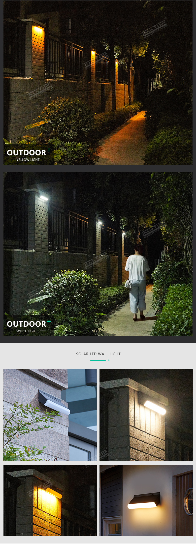 ALLTOP New Product Design Super Bright Security Garden Waterproof Wireless Motion Sensor led Solar Wall Lights
