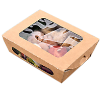 window salad craft kraft brown disposable rectangle foil lined packaging storage delivery lunch bento paper food box