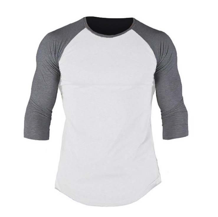 No brand Pure Color Cotton Men's Slim 7/10 Sleeve Round Neck Sports Fitness Hip Hop Fashion t-shirt 6
