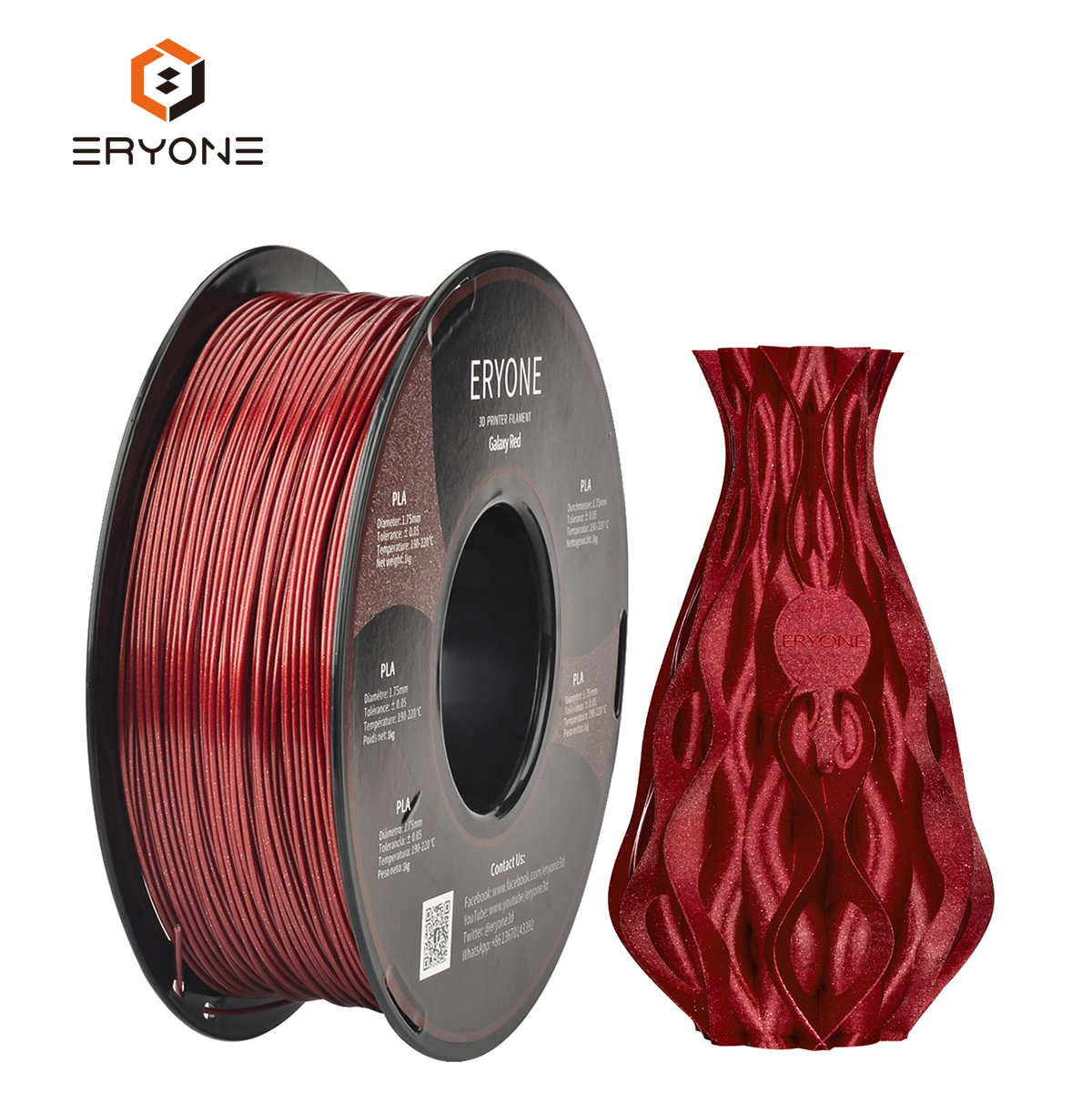 Eryone Different Color Option Sparky Glitter Pla Filament 3D Pen Printer Drucker Filament 1.75mm 1KG/Roll With Custom Logo
