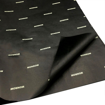Custom gift packaging paper printed logo black tissue wrapping paper with white brand