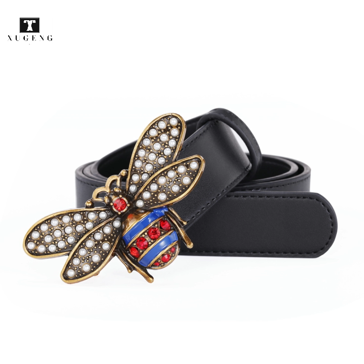 Ladies fashion casual small bee buckle rhinestone leather belt for women