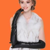 Lady Winter Long Wool Leather Gloves Touch Screen Velvet Thicker Black Warm Gloves Sleeve 40cm
